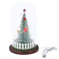 Factory direct clear glass dome bell cloche wood base with christmas tree inside glass dome christmas tree