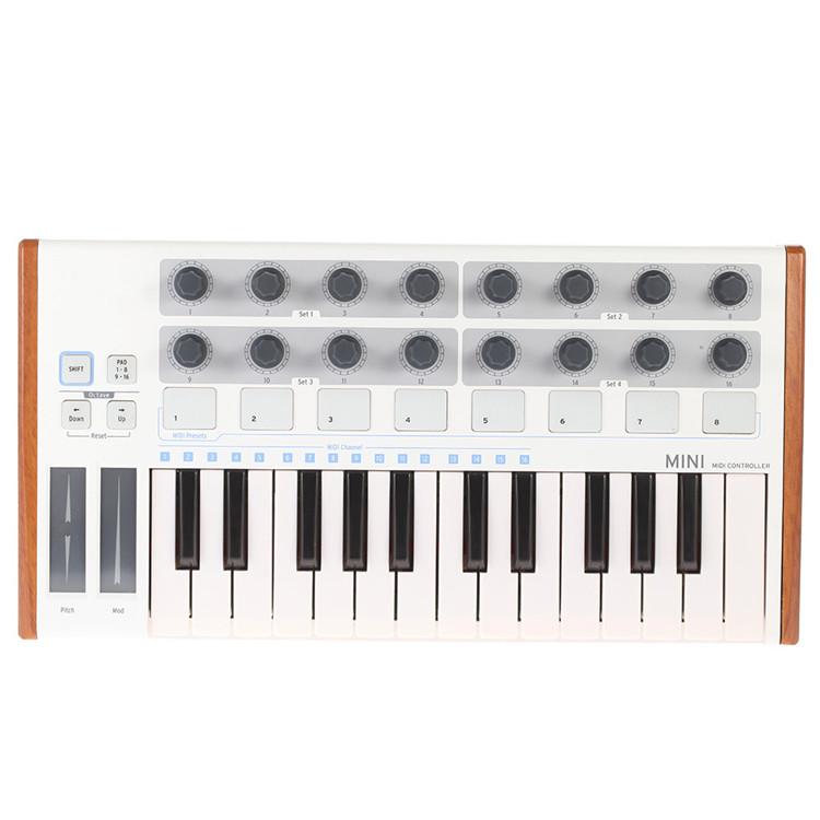 25-chave Controlador MIDI MINI Portable USB MIDI Teclado Mini USB MIDI Drum Pad e Teclado Controlador Profissional