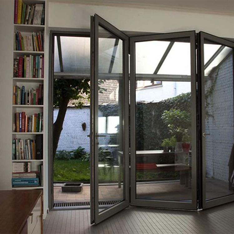 hot sale kerala cheap hinges screen large glass folding doors aluminum metal Bi-fold Door