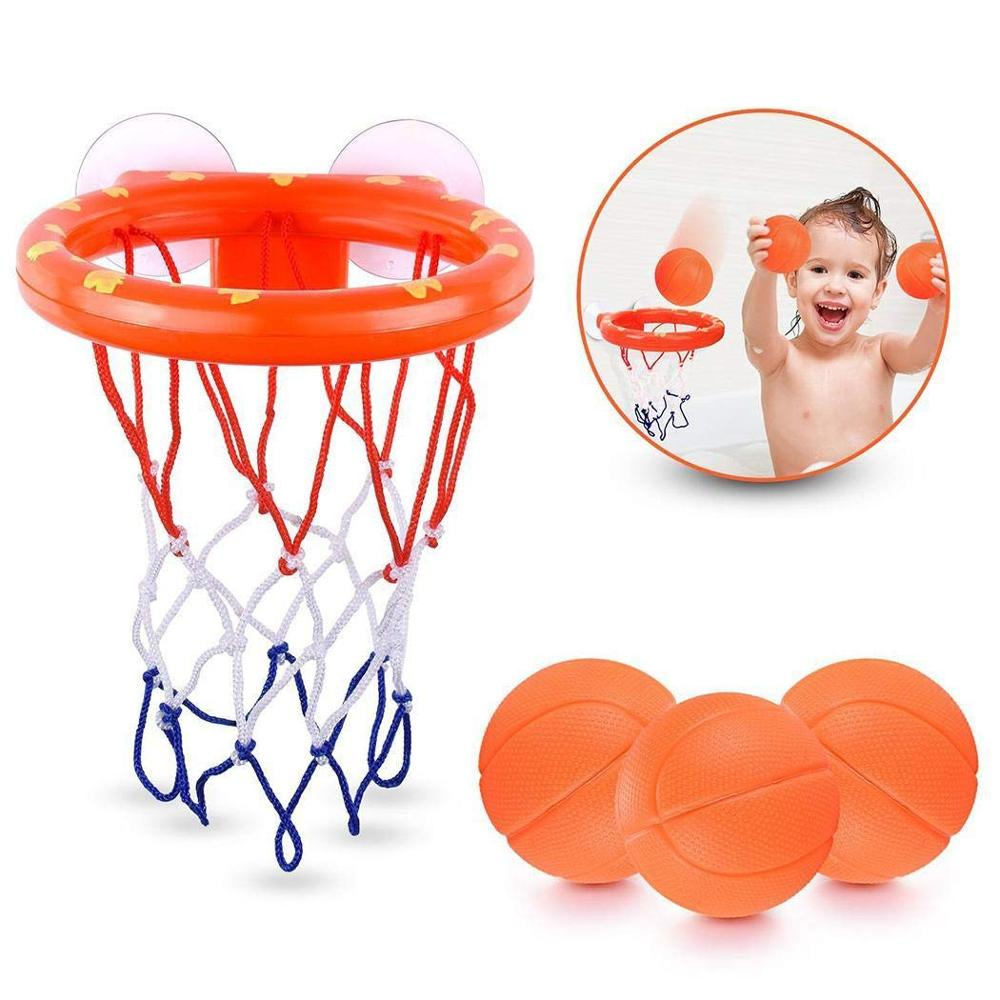 Amazon Best Seller Toddler Bath Toys Fun Suction Cup Hoop Set Bathroom Water Mini Basketball Hoop & Balls Play Set for Kids