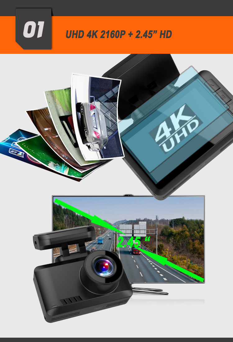 Magnetic Mount 2160P Car Black Box GPS Wifi Night Vision 4K Dash Camera