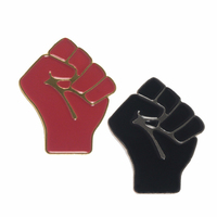 Raised fist pins Black red power of unity brooches Solidarity symbol jewelry black lives matter Pins