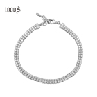 925 Sterling Silver Pave Tennis Bracelet 2mm 3mm 5mm Two Row AAA Cubic Zirconia Wristband Crystal Wedding Bracelet For Women