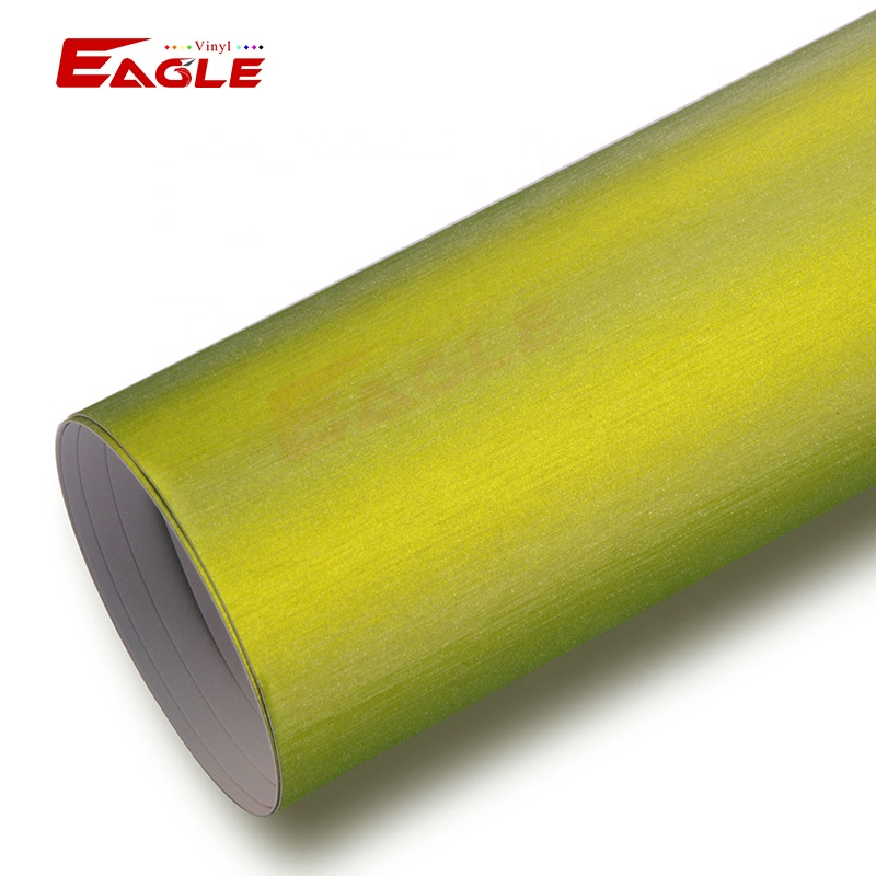 TM2626 Lime Green Brushed Metallic Bus Wrap Foil Wrapping Del Vinile Wrapping Film