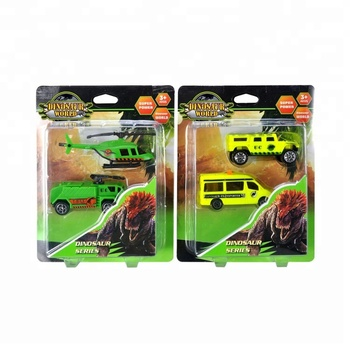 Super Power 2Pcs Best Christmas Gift Mini Pvc Dinosaur Toy Set with Truck & Helicopter