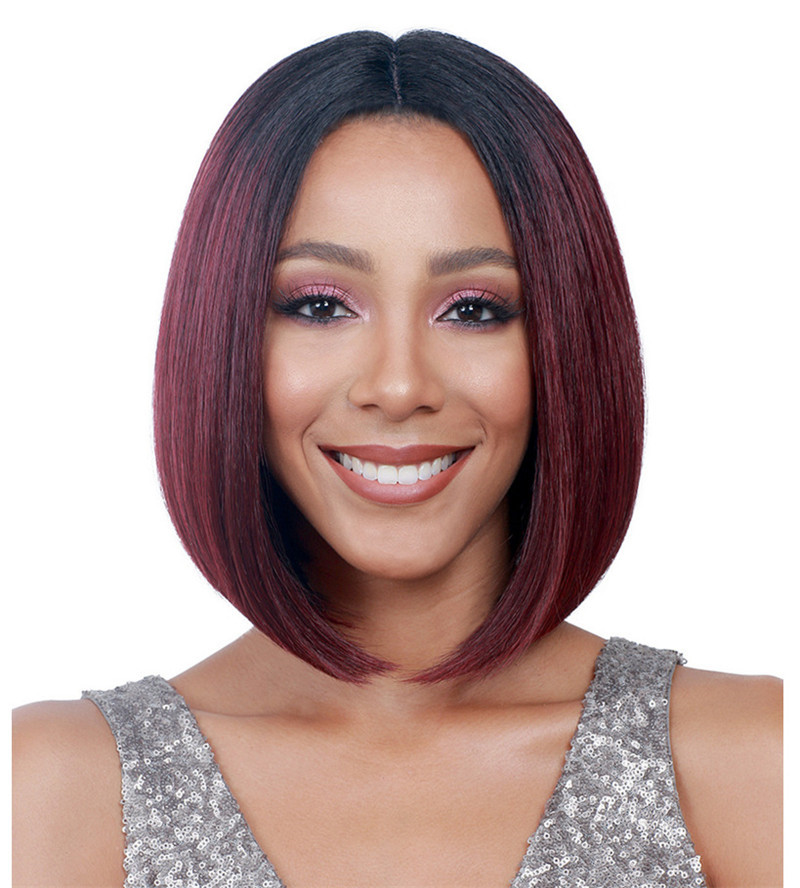hot style bob 1b 99j wine red <strong>synthetic</strong> <strong>full</strong> <strong>lace</strong> <strong>wig</strong> for african women