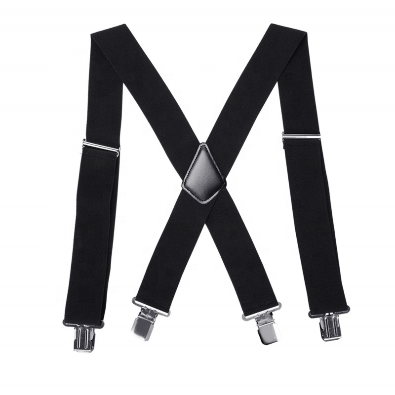 <strong>Mens</strong> <strong>Suspenders</strong> X-Back 2&quot; Wide Adjustable Solid Straight Clip <strong>Suspenders</strong>
