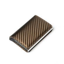 Bycobecy 2020 высокое качество кардбон волокна RFID держатель карты сцепления всплывающий бумажник алюминиевая коробка Тонкий чехол Смарт ID карты(Китай)