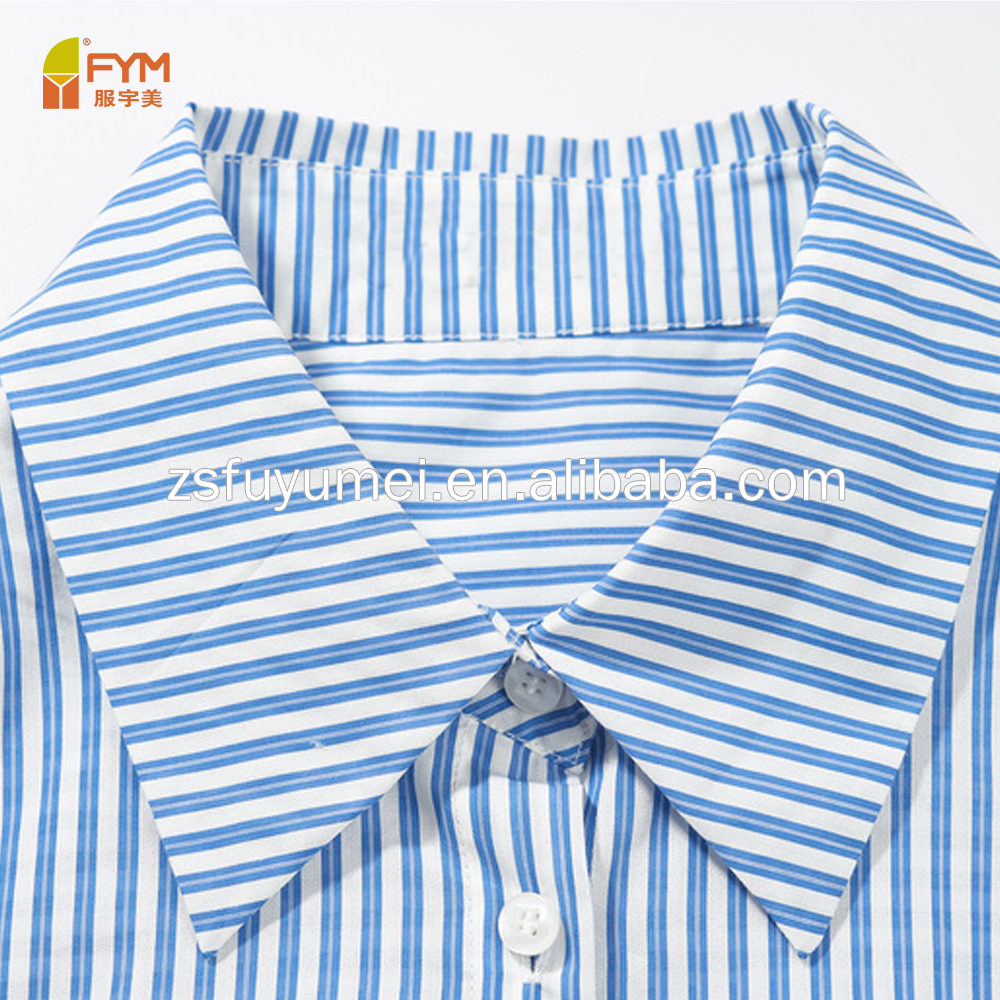 Customized embroidery  high quality 100% cotton  stripe stand collar men shirts   casual  women shirt   style