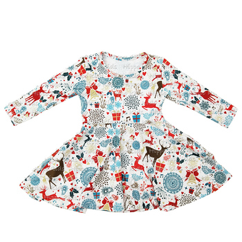 Wholesale girls boutique Christmas inner pockets twirl dresses silk milk clothes for baby kids
