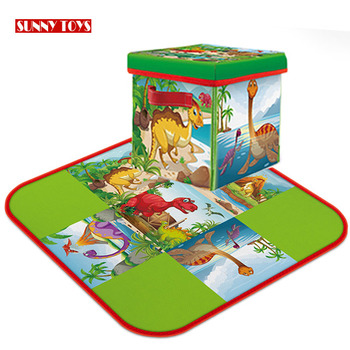 2 in 1 dinosaur activity mat 72 cm toy storage play mat for kids boys girls