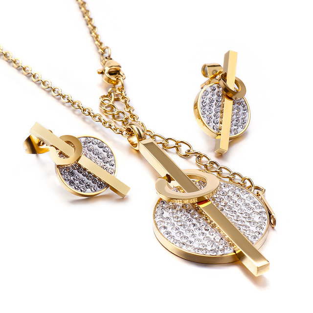 Manufacturers wholesale new fashion jewelry set stainless steel diamond earrings+necklace two-piece set