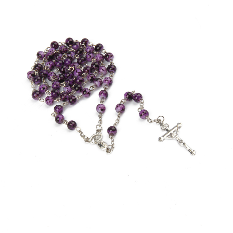 3 Colors Available Religious Christian Jewelry 6mm Glass Rosary Bead Cross Necklace