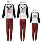 Fung F1003 New Style Cotton A Family Of Four Night Wear White &Plaid Matching Family Christmas Pajamas