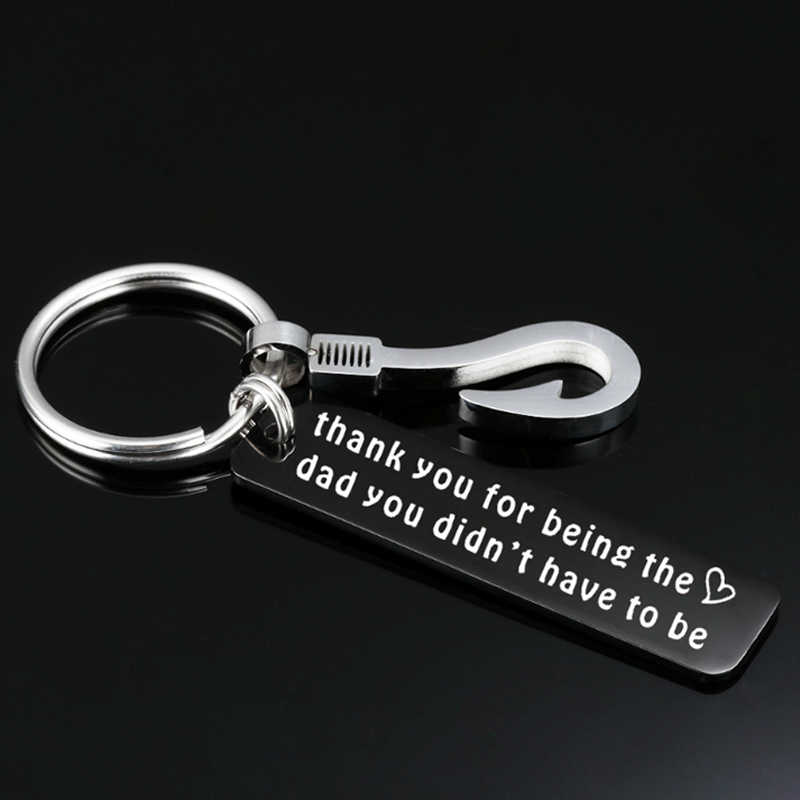 2020 Personalized Father's Day Gifts Logo Lasering Engraving Free Cheap Custom Keychains With Fish Hook