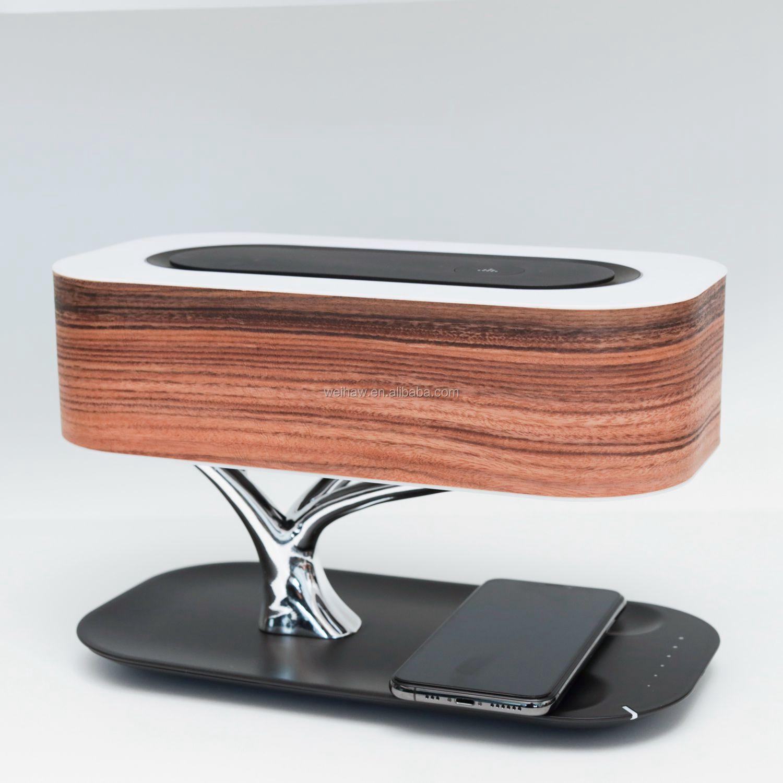 Prodotti di Tendenza 2020 Albero di Illuminazione Casa Albero di Legno Lampada da Comodino Caricatore Senza Fili Bluetooth Speaker