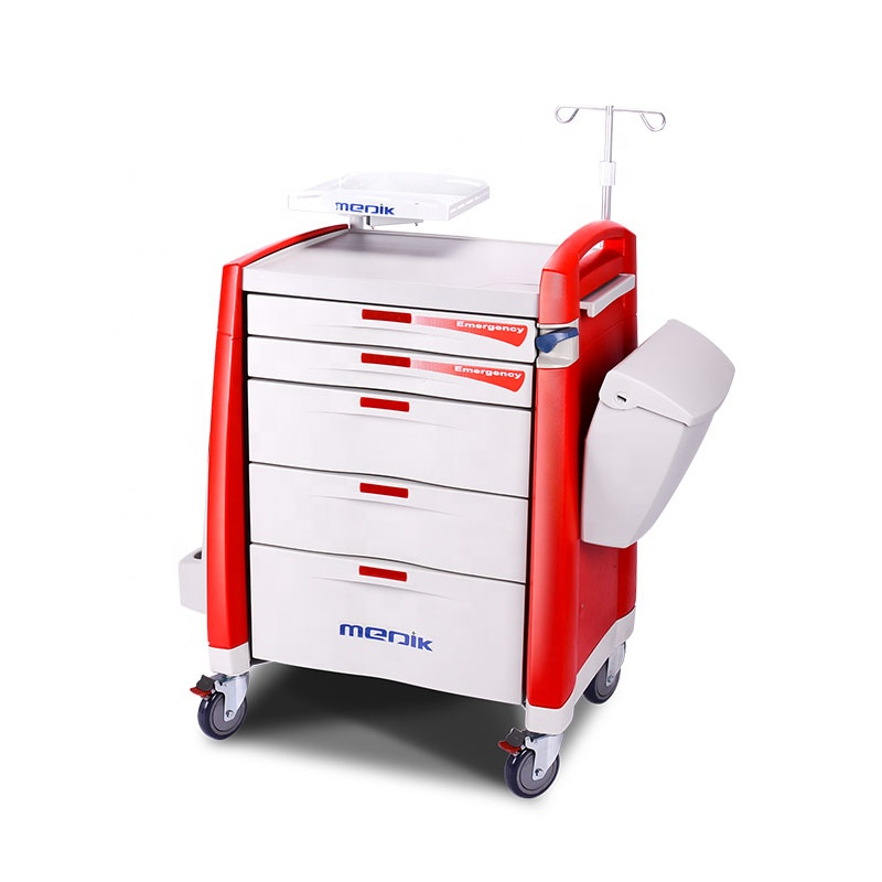 High Quality Cheap Mobile Abs Drugs Hospital Medical Crash Cart Plastic Emergency Medicine Trolley For Clinic