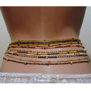 wholesale Women Cheap african sexy glass seed waist beads belly chain weight loss body jewelry elastic cord 80CM 2pcs a pack