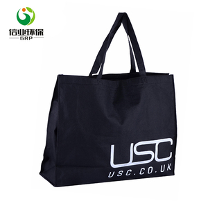 digital print large nonwoven fabric cotton tote black shopping bag