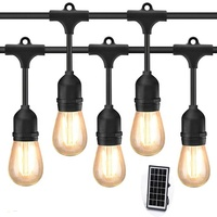 48FT S14 Solar Outdoor In Holiday Lighting Garden Powered String Lights With Bulbs Led Edison