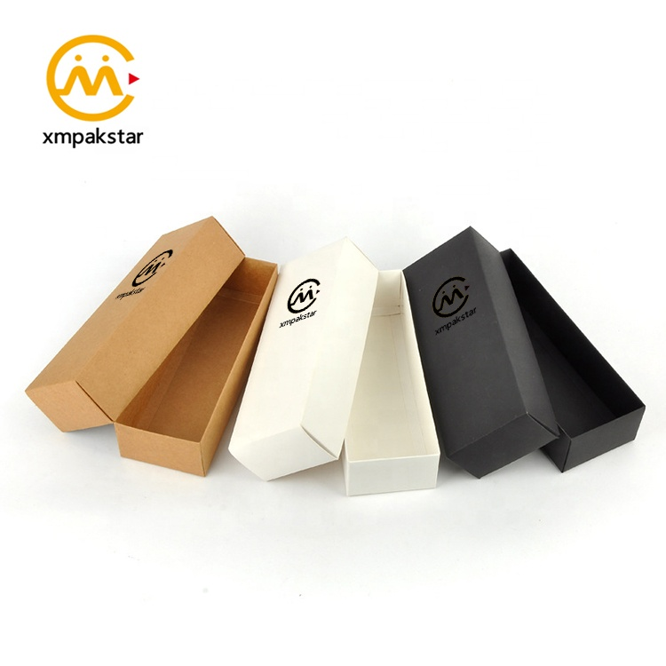 Custom eco friendly white brown black recycle kraft lid and base small thin carton paper box