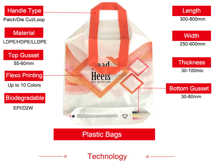 Die Cut Handle Carrier Flexography Printing Biodegradable Plastic Shopping Bag