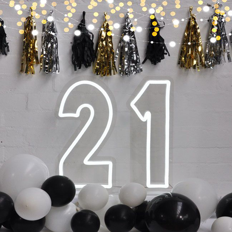 Drop Shipping free design wall mounted hanging colorful acrylic logo custom number 21 neon sign letters for party decoration
