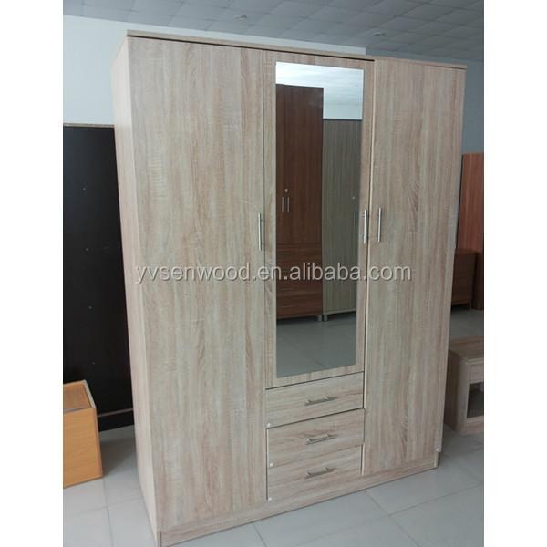 white color wood bedroom 3 doors wardrobe