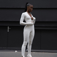 Black White Sexy Bodycon Tracksuit Jumpsuit Women 2020 New Fitness Romper Long Sleeve Zipper Elastic Bodysuit Body Mujer Y12664