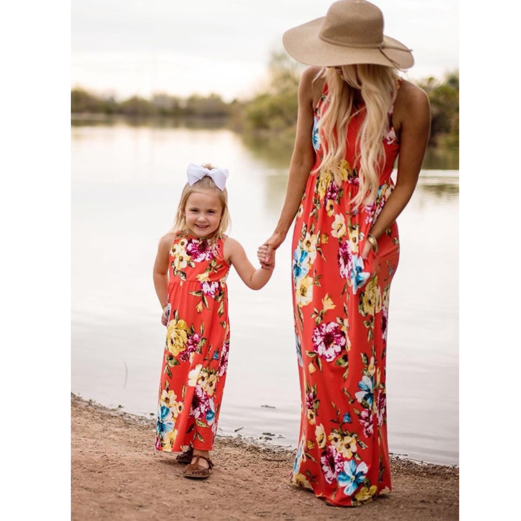 Fashion Mother Daughter Clothing Kids Dresses Mom Daughter Matching Dresses