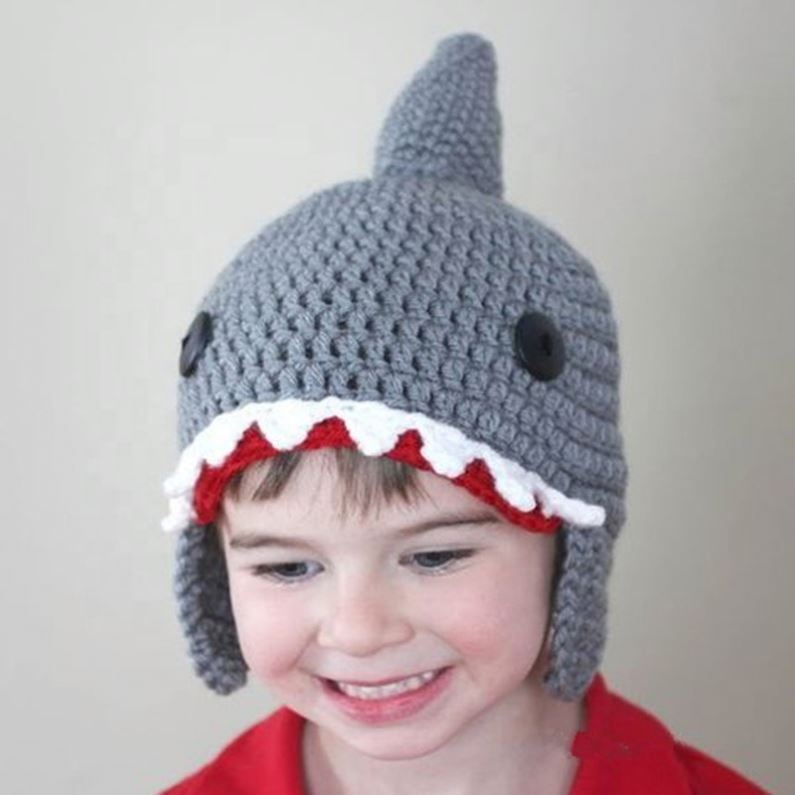Großhandel Winter Manuelle Stricken Wolle Cartoon Shark Baby Earflap Warme Kinder Hut