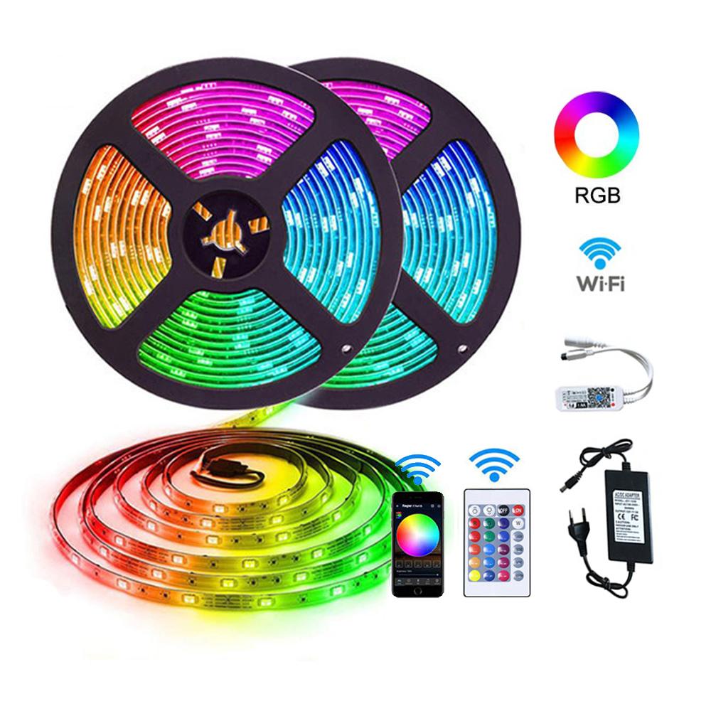 12v 24v 5m 10m 15m 100m flexible smart bluetooth wifi remote control waterproof 5050 rgb neon led strip lights