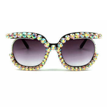 Diamond Round Sunglasses 2019 New Women Luxury Brand Crystal Sun glasses wholesale glasses