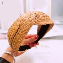 Богемный ободок для волос, летняя плетеная повязка с узелком для женщин, обруч для волос ручной работы с крестом, повязка на волосы, тюрбан, а...(Китай)