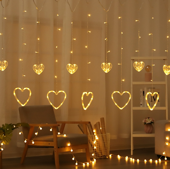 LED colorful five-pointed star lights Christmas tree bell modeling curtain lights with romantic room decorative lights