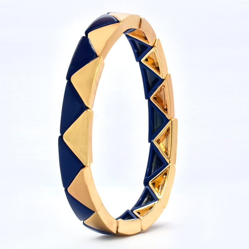 Bohemia New Design Miyuki Bead Bracelet Handmade Blue Gold Triangle Tila Beads Geometric Stretch Bracelet For Ladies