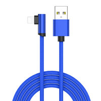 Wholesale Cheapest 90 Degree Blue Nylon Braided Double Sided Insertion Micro Usb Cable For iphone