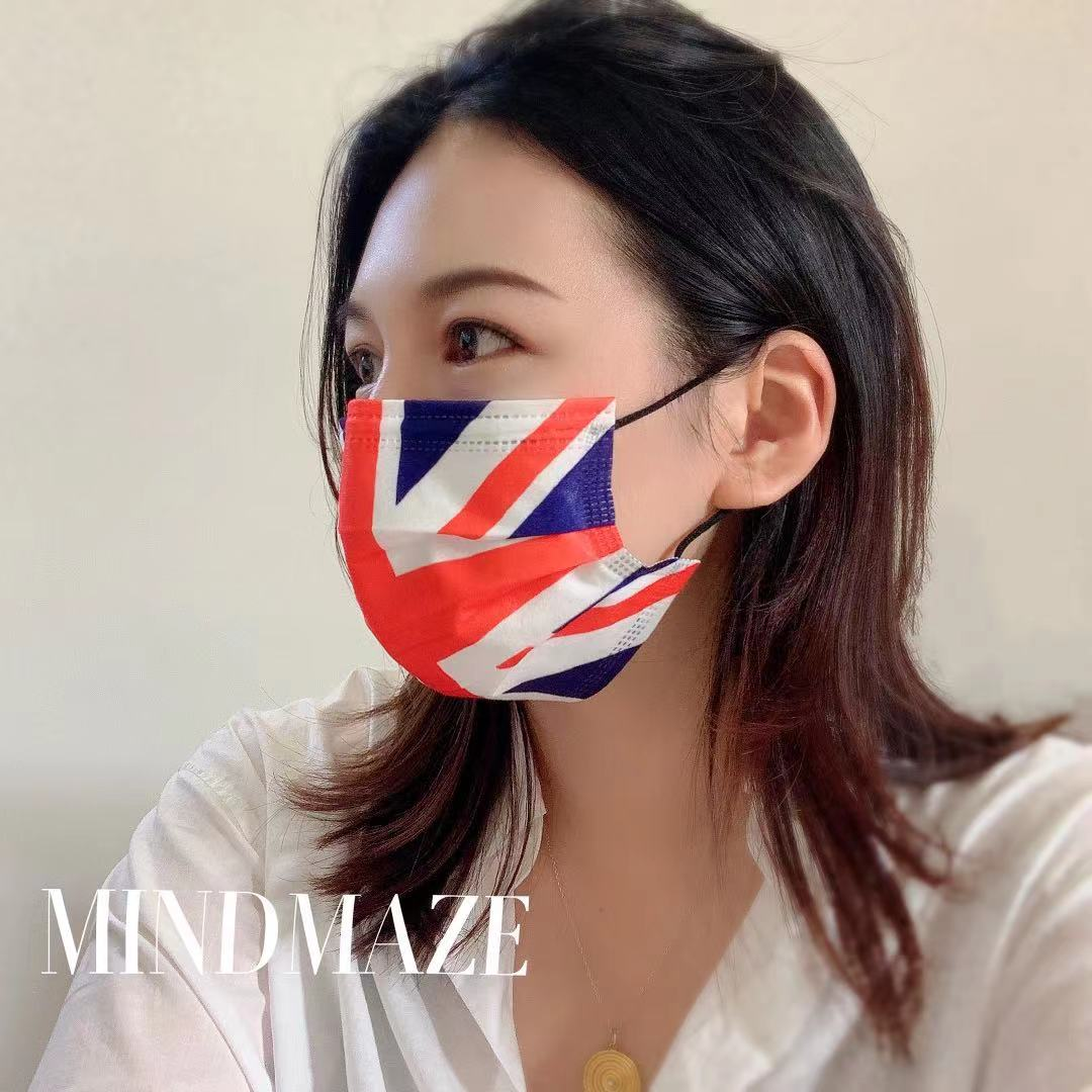 Custom wholesale disposable designer maskes 3 ply Black Certified 3 layer Disposable brand facemask (图4)