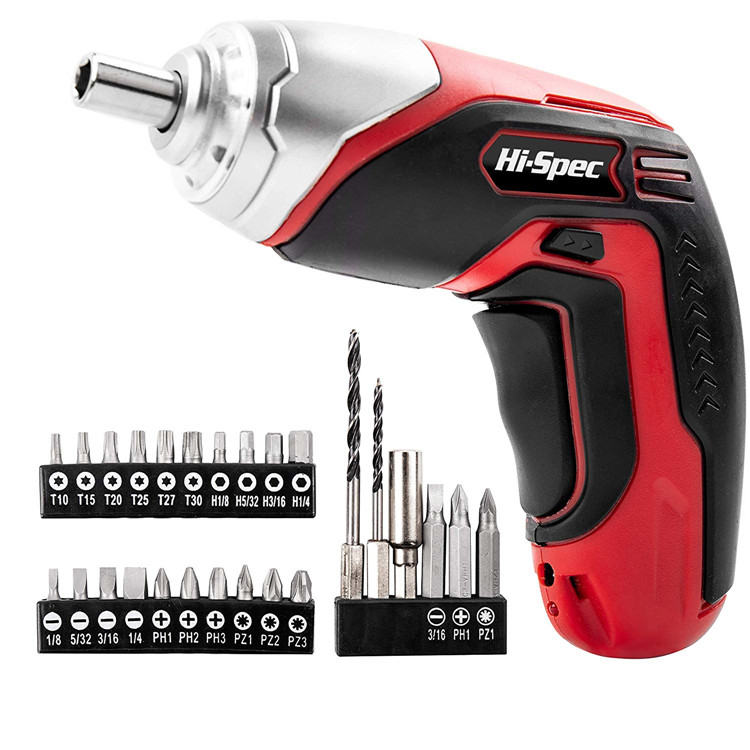 Hispec LED 3.6V Li-ion Battery Cordless Electric Screw Driver, Mini Screwdriver with Bit Set