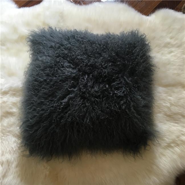 Soft real fur pillow mongolian lamb fur pillow
