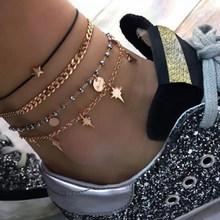 Tocona Boho Shell, многослойные сандалии золотистого цвета с цепочкой для ног, сандалии с открытым носком, цветной ножной шнур в форме сердца из рыб...(Китай)