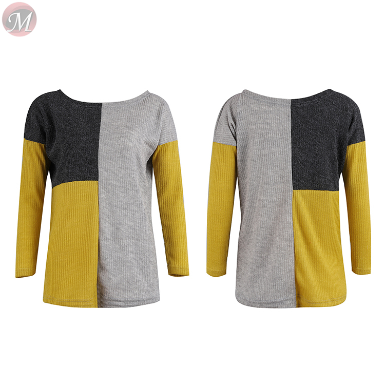 0010916 hot sale fashion casual Knitting sweater long sleeve Multicolor splicing Winter jumper woman woollen sweater