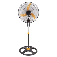 Hot sale high speed fancy industrial home 18inch plastic air cooling stand pedestal fan specification with light round base