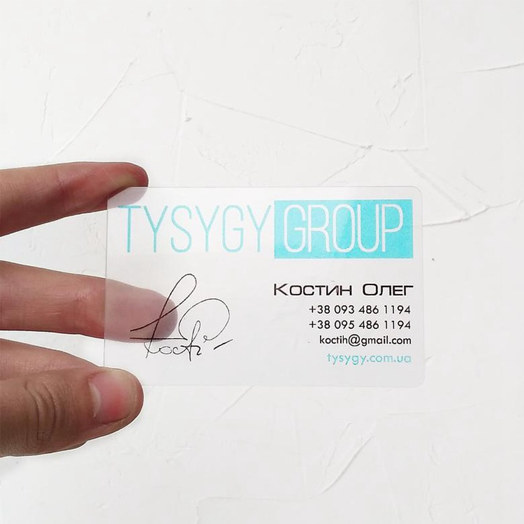 Personalized Premade Logo Branding Frosted Plastic Calling Cards, Printing Pvc Logo Transparent Business Card