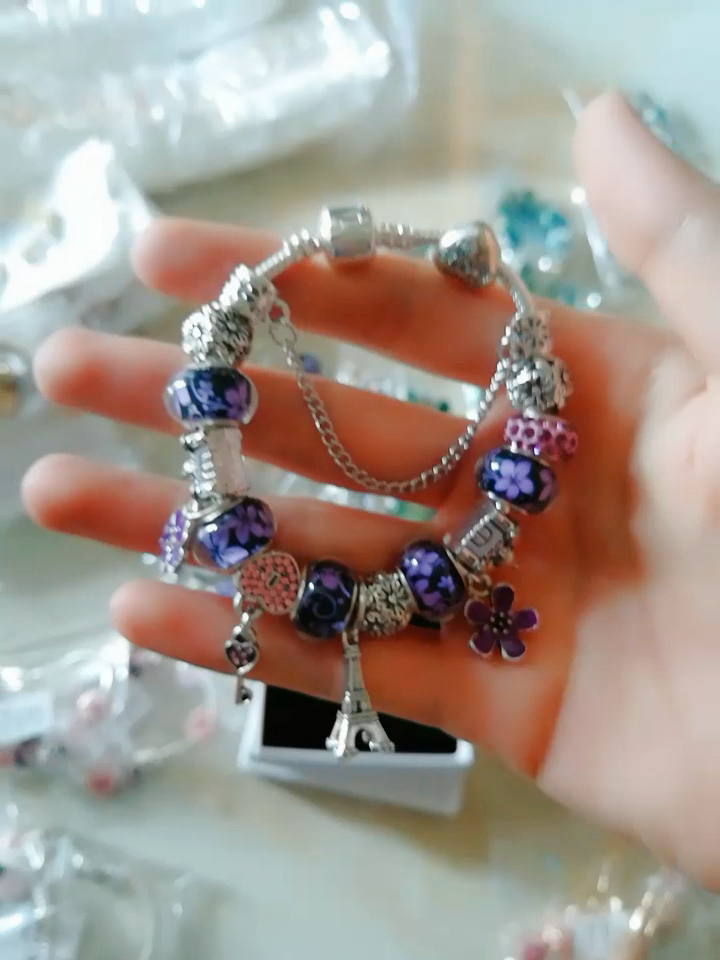 Mode tour eiffel fleur perles bracelet breloques et bracelets