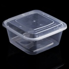 Wholesale take away 650 750 1000 ml black transparent PP plastic square disposable food lunch box container