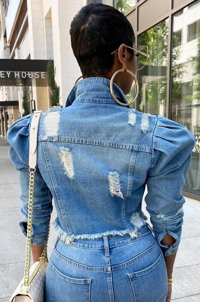 MXN Top quality plus size denim jacket ladies washed frayed casual button women blue jean jacket