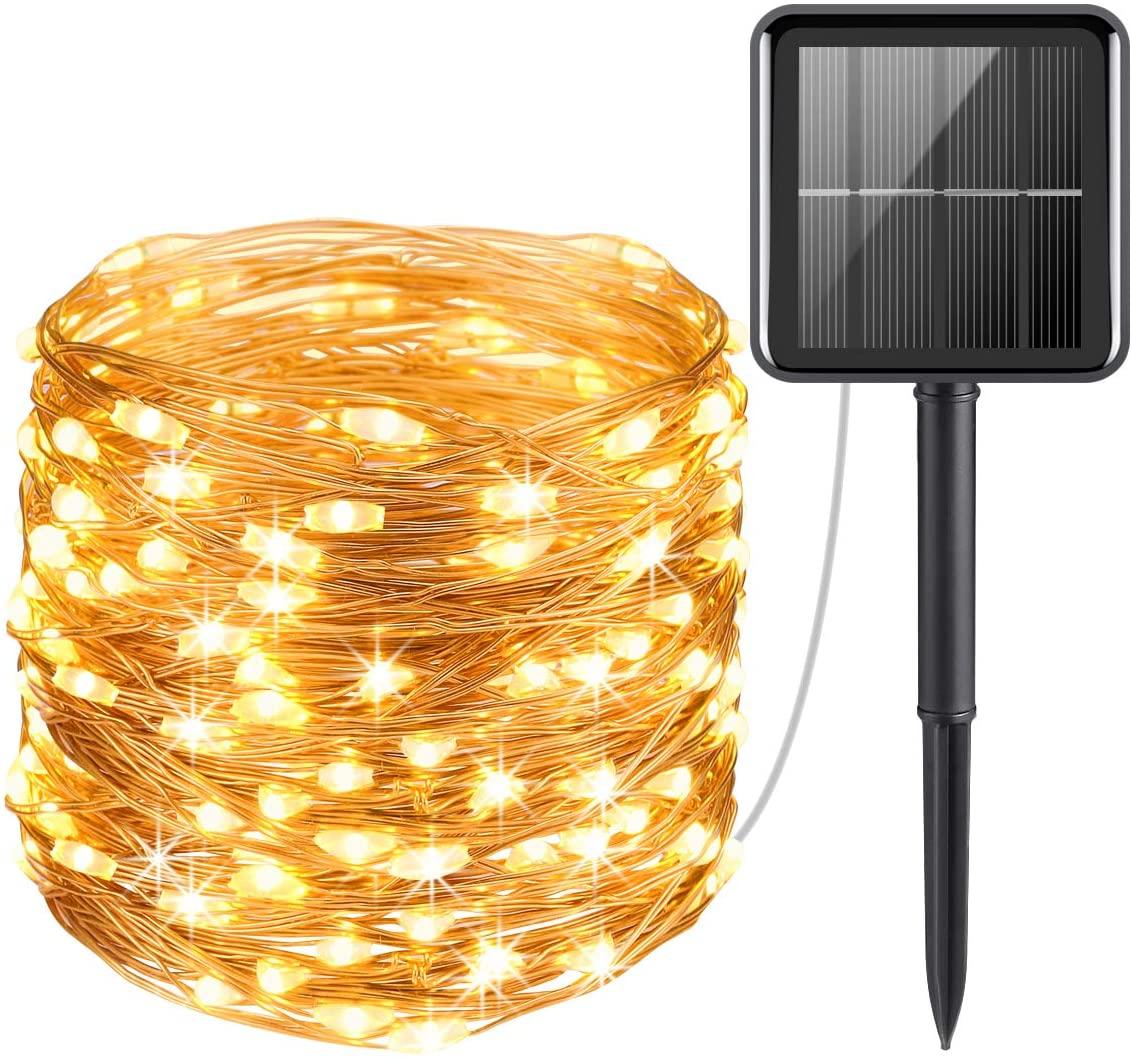 निविड़ अंधकार आउटडोर सौर बॉक्स तांबे के तार एलईडी दीपक स्ट्रिंग प्रकाश सौर संचालित क्रिसमस परी स्ट्रिंग रोशनी