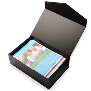 Personalized Private Label Black Flat Folding Large A6 Kraft Magnetic Gift Box