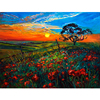 New Arts International Handmade Sunset Flower Field Canvas Oil Painting Picture